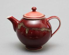 Wheel-thrown Porcelain Teapot with Golden and Copper Red Glazes by Hsinchuen Lin