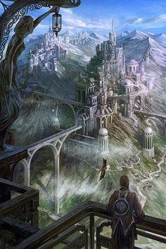 56 Ideas fantasy landscape art castles atlantis for 2019 Fantasy Kunst, Fantasy City, Fantasy Castle, Fantasy Places, Sci Fi Fantasy, Fantasy World, High Fantasy, Medieval Fantasy, Fantasy Art Landscapes