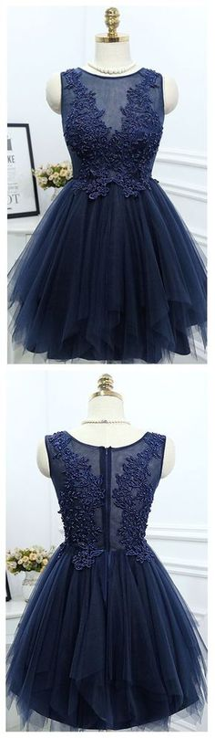 Cheap Navy Homecoming Dresses made in Tulle with emblellishment of lace appliqued and beaded