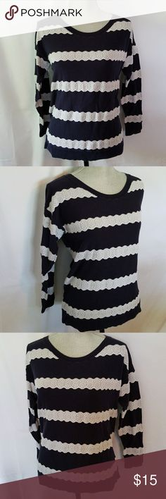 American Eagle sweater Beautiful navy blue and white lace striped sweater. Perfect condition American Eagle Outfitters Sweaters