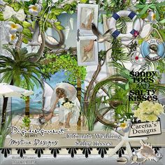 Digital Scrapbooking Beach Wedding Kit by Carena's Designs. Part of the Ultimate Wedding Bundle. A must have for any scrapbook wedding album.