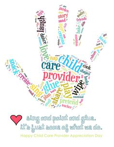 Child Care Provider Appreciation Day - celebrated on the Friday before Mother's Day.Don't forget about those who dedicate their lives loving your most precious possession! Appreciation Quotes, Staff Appreciation, Childcare Quotes, Counseling Quotes, School Counseling, Daycare Gifts, Daycare Ideas, Teacher Gifts, Printable Poster