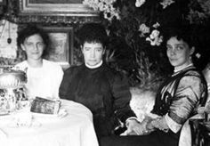 Dowager Empress Maria Feodorovna of Russia with her granddaughter Princess Irina Alexandrovna and daughter Grand Duchess Xenia