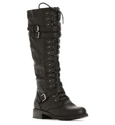 Black Lace-Up Tall Combat Boots at WindsorStore