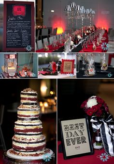 Circus themed black and white wedding!! Deconstructed cake!
