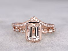 Rose Gold Morganite Wedding Set Diamond Curved V Half Eternity Ring Emerald Cut Stacking Band - BBBGEM — love this bandddd Gold Simple Engagement Ring, Quartz Engagement Ring, Engagement Wedding Ring Sets, Wedding Set, Trendy Wedding, Wedding Ideas, Morganite Engagement, Dream Wedding, Garden Wedding