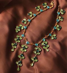 2013 NEW Luxury Green Crystal Necklace JC140 $35.00