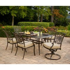 Hanover Outdoor Traditions 7 Piece Dining Set w Cushions