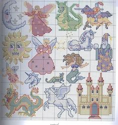 cross stitch - fantasy motifs - fairy, dragon, knight, unicorn, wizard, mermaid…