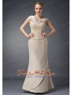 Wonderful Champagne Column V-neck Mother Of The Bride Dress Satin Lace and Beading Floor-length  http://www.fashionos.com  http://www.facebook.com/fashionos.us  A bit retro and a lot gorgeous! This elegant dress features a modest chic V-Neck design with square beading trimed and a lace embroidery covered bodice adds more cuteness of this dress. The non-wrinkling and breathable floor-length layered skirt makes you feel comfortable. A hidden zipper-up back shows your slim figure perfectly.