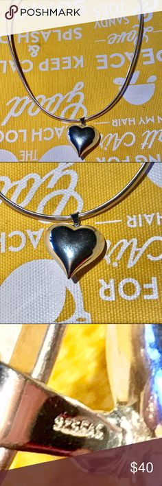 ❤️ Sterling Silver Large Puff Heart Necklace ❤️ Marked 925 and maker's mark FAS. FAS Jewelry Necklaces