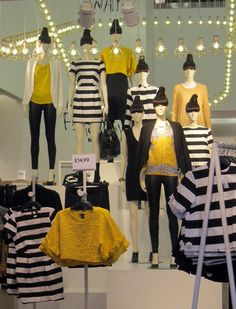 Bumblebee brights in-store as zesty yellows update commercial monochrome for the transitional selling period. Subscribers click here for the full report. WGSN store shot, H&M, London.