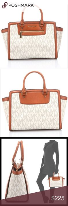 """NWT🍀Vanilla Michael Kors Satchel w/Dustbag 🍀Vanilla Michael Kors Satchel🍀 Length-16"""" Height-9 1/2"""" Depth-6"""" Handle Drop-4 1/2"""" Includes longer leather adjustable Crossbody/shoulder strap. This beauty has a tan MK interior with gold hardware. 1 Interior zip pocket and 4 interior multifunction pockets. It also has an attached interior key chain strap. 1 exterior zip pocket as well. Michael Kors Bags"""