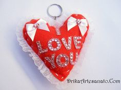 Chaveiro de Feltro com coração • Drika Artesanato - O seu Blog de Artesanato!