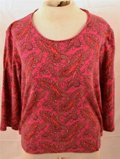 White Stag Ladie's Size Large 3/4 Sleeve 100% Cotton Paisley Pullover Blouse #WhiteStag #Blouse