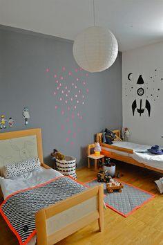 Shared Kids Bedroom #gray