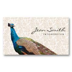 Vintage Peacock Floral Interpreter Business Card