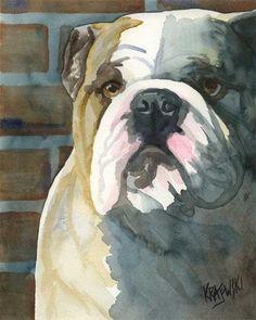 Bulldog impresión del arte de la Acuarela Original por dogartstudio