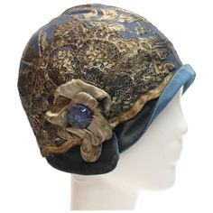 1920s Blue Cloche Hat | From a collection of rare vintage cloche hats at https://www.1stdibs.com/fashion/accessories/cloche-hats/