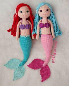 JULIA Crochet Toy / Amigurumi Doll - Crochet Doll for Daughter, Gift for Children, Gift for Baby, Gi Crochet Dolls Free Patterns, Crochet Doll Pattern, Crochet Motif, Amigurumi Patterns, Doll Patterns, Crochet Toys, Crochet Baby, Little Mermaid Crochet, Crochet Mermaid Tail