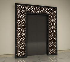 Backlit Laurel on Lift Entrance Pooja Room Design, Door Design, Main Entrance Door Design, Room Door Design, Living Room Partition Design, Home Interior Design, Ceiling Design Modern, House Interior Decor, Stairs Design