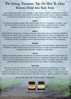 The Setting Thesaurus Sensory Details Oh my gosh, YES! I need this so freaking much! English Writing Skills, Book Writing Tips, Creative Writing Prompts, Writing Words, Fiction Writing, Writing Quotes, Writing Resources, Writing Ideas, Writing Strategies