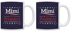 Political Gifts Mimi for President Grandma Gifts Funny 2 Pack Gift Coffee Mugs Tea Cups Blue -- Wow! I love this. Check it out now! : Coffee Mugs