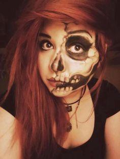 Art - Heart Our Style - alternative cool face girl hair hallowen paint red scared skull
