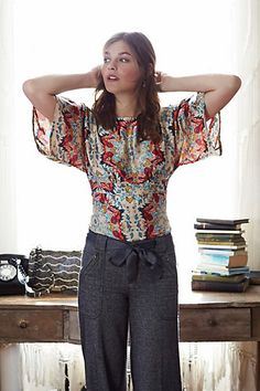 Work: A look similar to this carries the Bohemian and easy vibe into a work look that is still appropriate and put together without losing the cool factor.Winterstar Blouse #anthropologie