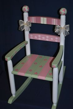Childrens Custom Hand Painted Floral Patchwork Kids Rocking Chair. $139.00, via Etsy.