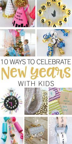 10 Ways to Celebrate New Years with Kids on Love the Day - 2019 Neujahr New Years With Kids, Kids New Years Eve, New Year's Eve Celebrations, New Year Celebration, New Year's Eve Crafts, Crafts For Kids, Diy New Years Party, New Year's Snacks, New Year's Eve Activities