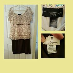 Bundle deal.. lace empire top & brown skirt Cream & brown lace empire top by Venezia size: 22/24 W and a brown stretch skirt  w/ elastic waist and walking slit, by JL Studio size:3X.  Great deal all you need are some shoes and your set. Lane Bryant & JL Studio  Tops