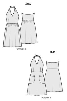 The Rose City Halter Dress sewing pattern by Sew House Seven is a halter dress…
