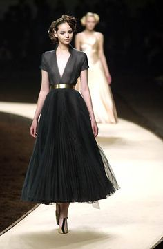 Chanel elegance,  Tulle Skirt, Deep V-neck short sleeved top and metallic gold belt