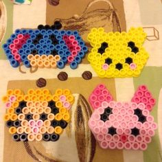 Winnie the Pooh tsum tsum characters perler beads by corinscrafts