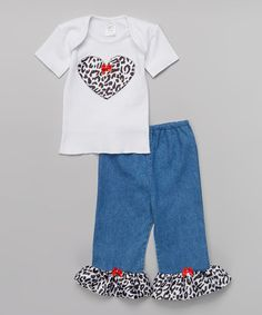 Love this Black & White Leopard Tee & Pants - Infant on #zulily! #zulilyfinds
