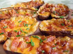 Loaded Potato Skins Recipe  Loaded with bacon, cheese, and chives.