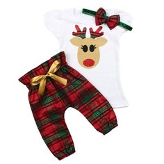 Girls Christmas Reindeer Outfit | Green and Red Plaid High Waisted Pants Christmas Outfit | Toddler and Baby Girls Christmas Outfit by OliveLovesApple on Etsy (null)