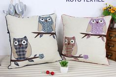 Cheap cushion cover, Buy Quality throw pillow covers directly from China car cushion covers Suppliers: Embroidered Decorative Cotton Applique Cartoon Sweetheart lover Animal Owl Cute Gift Sofa Car Cushion Cover Throw Pillow Cover Throw Cushions, Throw Pillow Covers, Linen Sofa, Home Textile, Cute Gifts, Fun Things, Applique, Owl, Xmas