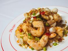 The salt and pepper prawns are one of the chef's specialties. Prawn, Shrimp, Upscale Restaurants, Salt And Pepper, Potato Salad, Cauliflower, Potatoes, Stuffed Peppers, Meat