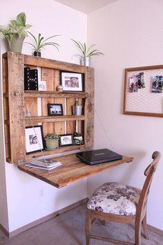 DIY space-saving pallet desk - The Northwest Momma . - DIY space-saving pallet desk – The Northwest Momma … – Katie - Pallet Desk, Diy Pallet Furniture, Diy Pallet Projects, New Furniture, Furniture Design, Furniture Ideas, Wood Desk, Furniture Storage, Wooden Furniture