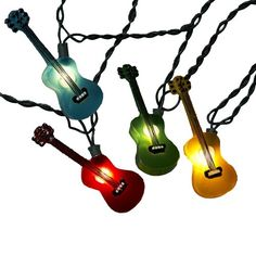 Kurt Adler Multi-Colored Guitar Light Set, 10 Light: This novelty light set features 10 guitar lights with lead wire and spacing. This light set includes 4 spare bulbs and 2 spare fuses. Guitar Party, Bass, Guitar Sketch, Semi Acoustic Guitar, Fused Plastic, Instruments, Guitar Gifts, Music Gifts, Indoor String Lights