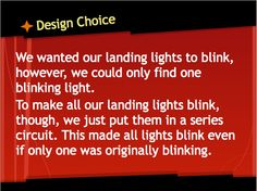 our design choice for blinking lights