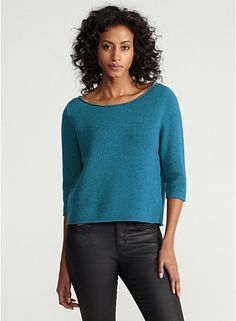 Bateau Neck 3/4-Sleeve Cropped Top in Supersoft Yak & Merino