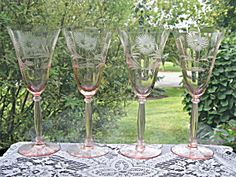 Tiffin Pink Cut/Engraved Water Goblets