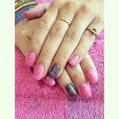 Pink and gun metal glitter calgel nails
