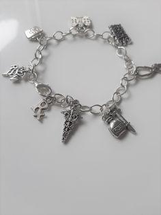 Nurse themed charm bracelet - metal charm bracelet - nurse/nursing themed jewelry - nurse/medical/hospital charms - nurse gift
