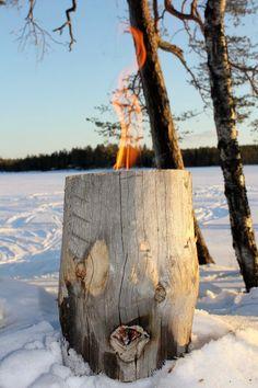 Jätkänkynttilä, fire log, finnish candle