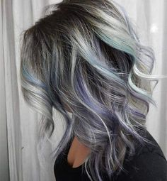 Nice long bob hair style with silver, blue, purple highlight