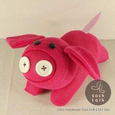 Handmade Pink Sock Monkey Baby Pig Stuffed Animals Doll Baby Toy   eBay